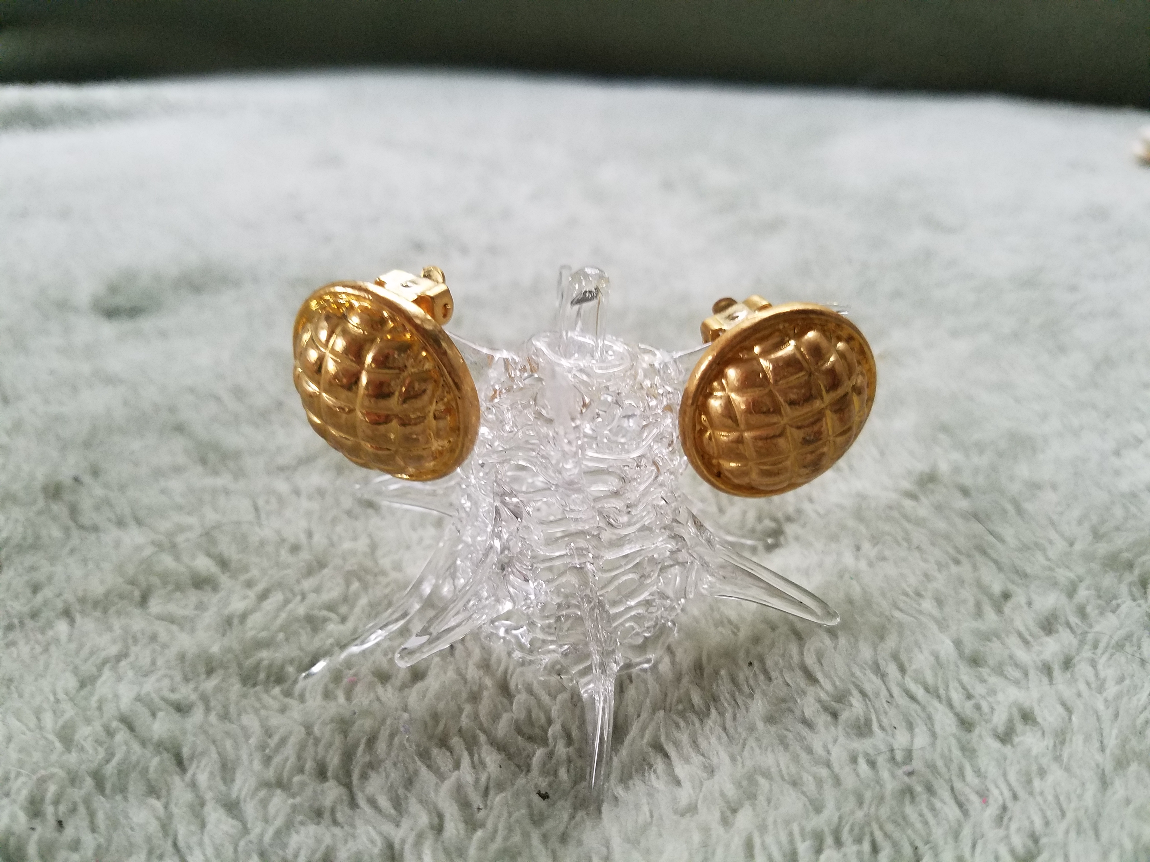 Gold Tone Button Clip On Earrings