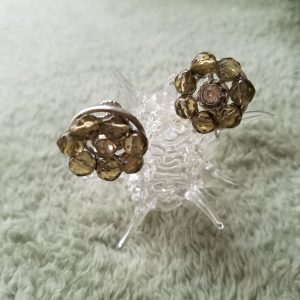 Vintage Yellow Toned Rhinestone Clip On Earrings