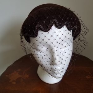 Vintage Black Scalloped Edge Fascinator with Netting