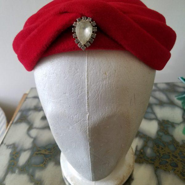Vintage Ruby Gypsy Hat with Lecie Tag