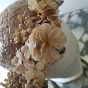 Vintage Peach and Pearl Floral Hat with Russeks Tag