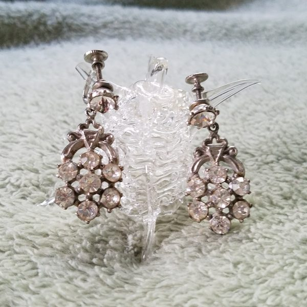 Flower Rhinestone Vintage Screw Back Dangle Earrings