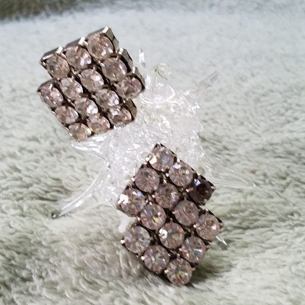 Vintage Sparkle and Face Clip On Rhinestone Earrings