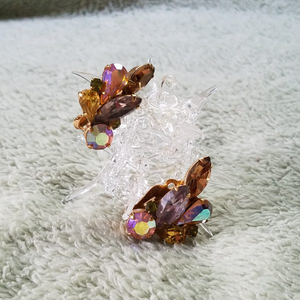 Vintage Purple Iridescent Clip On Earrings