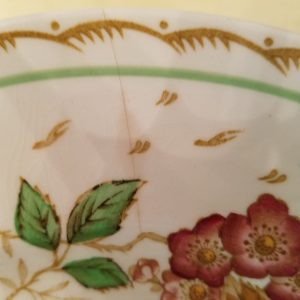 "VINTAGE ""BRAMBLE"" DINNERWARE BY WOOD'S BURSLEM ENGLAND DINNER PLATE (WITH CRACK)"