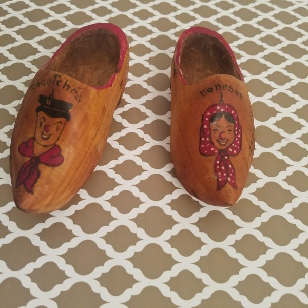 1945 Souvenir Belgium Tchantches and Nanesse Wooden Shoes