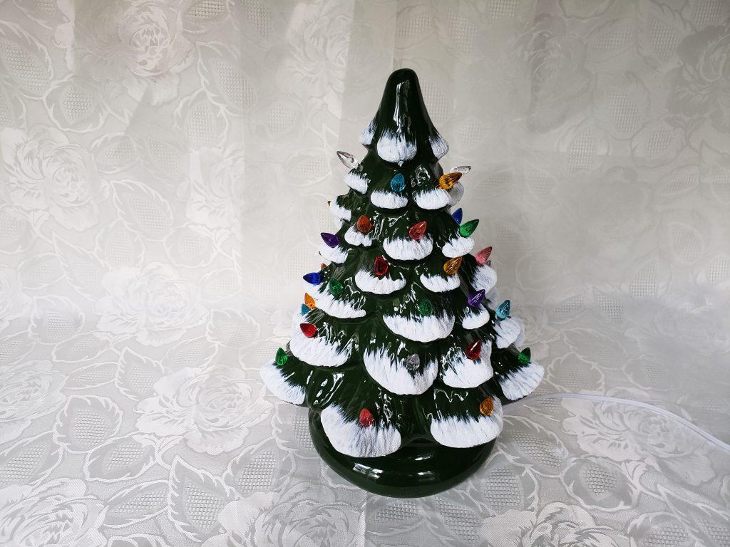 Vintage Flocked Ceramic Christmas Light Up Tree Aunt