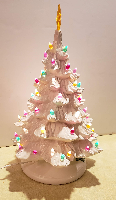 Vintage Ceramic White Light Up Christmas Tree Aunt