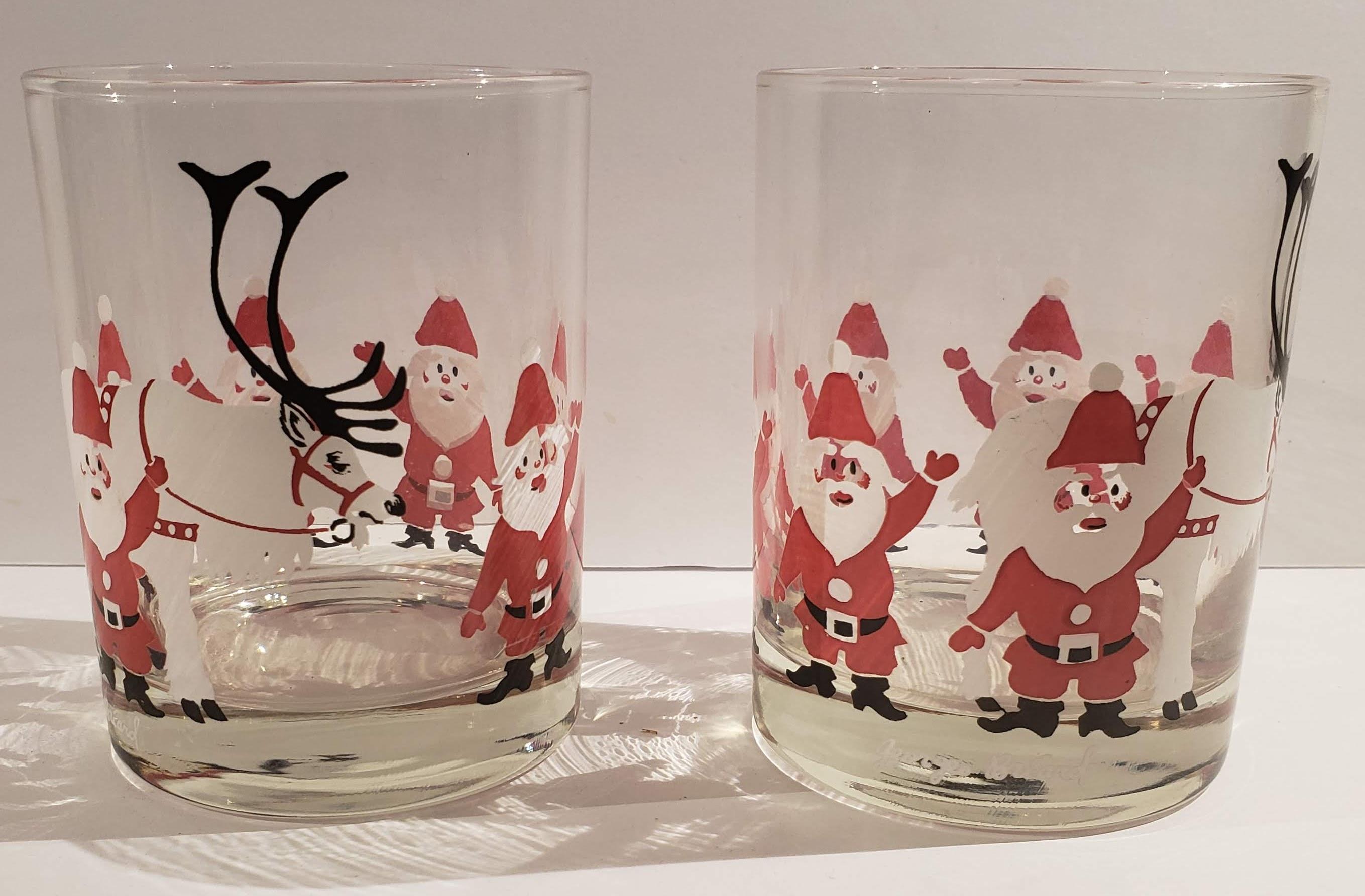 Vintage George Briard Santa Tumblers Set 1