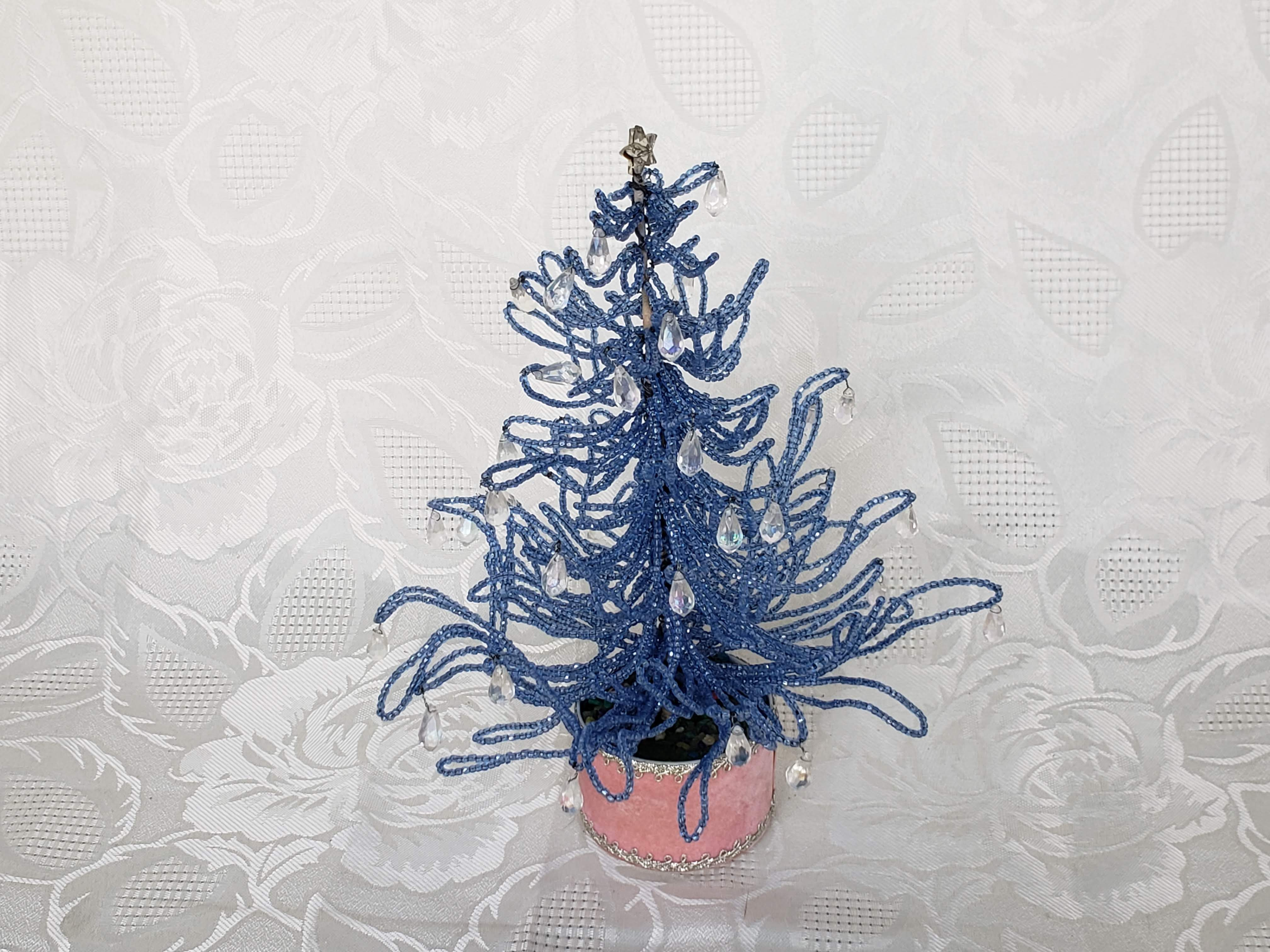 Vintage Hand Beaded Light Blue Seed Bead Christmas Tree