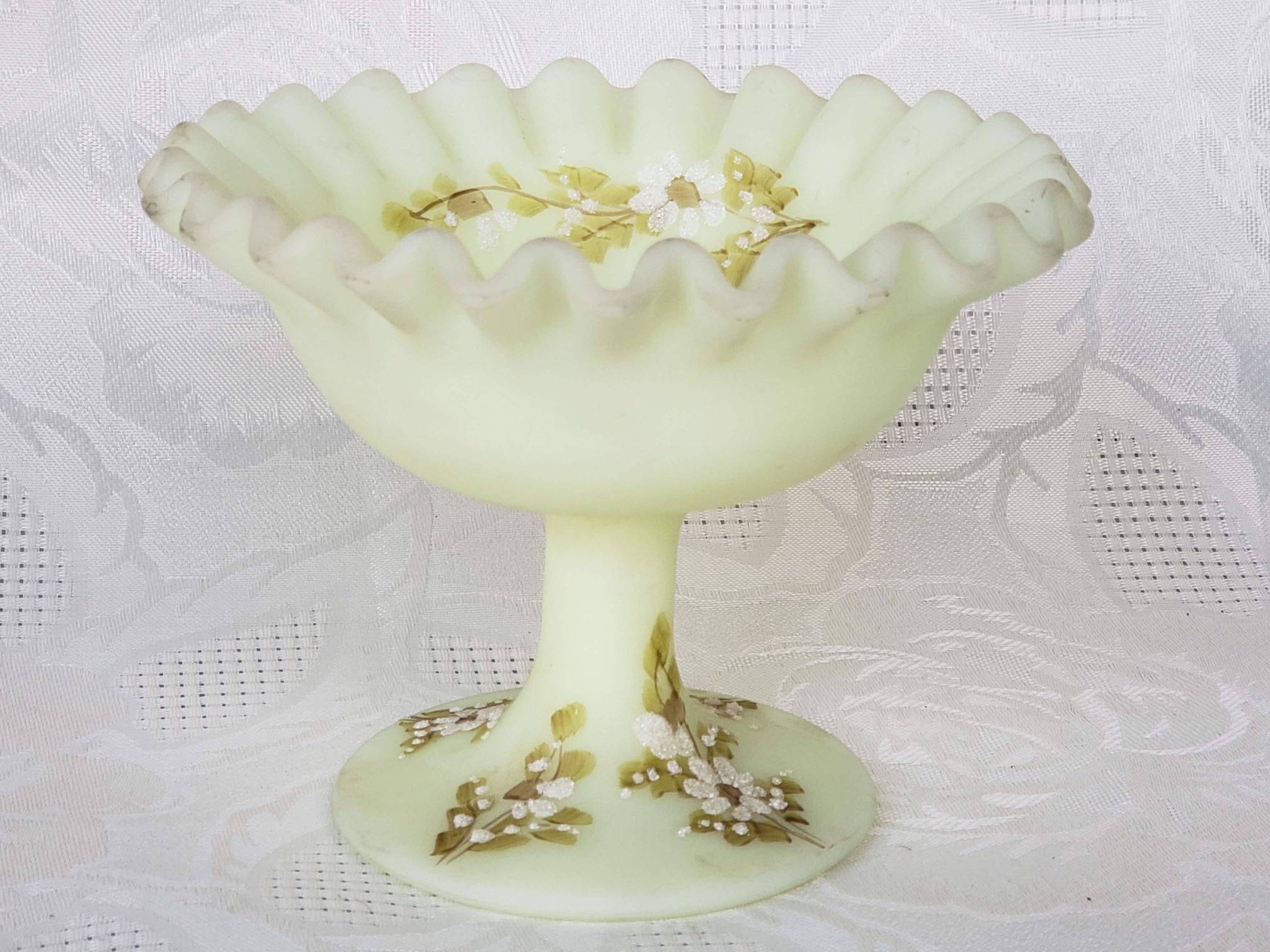 Vintage Fenton Art Glass Pedestal Candy Dish Aunt Gladys