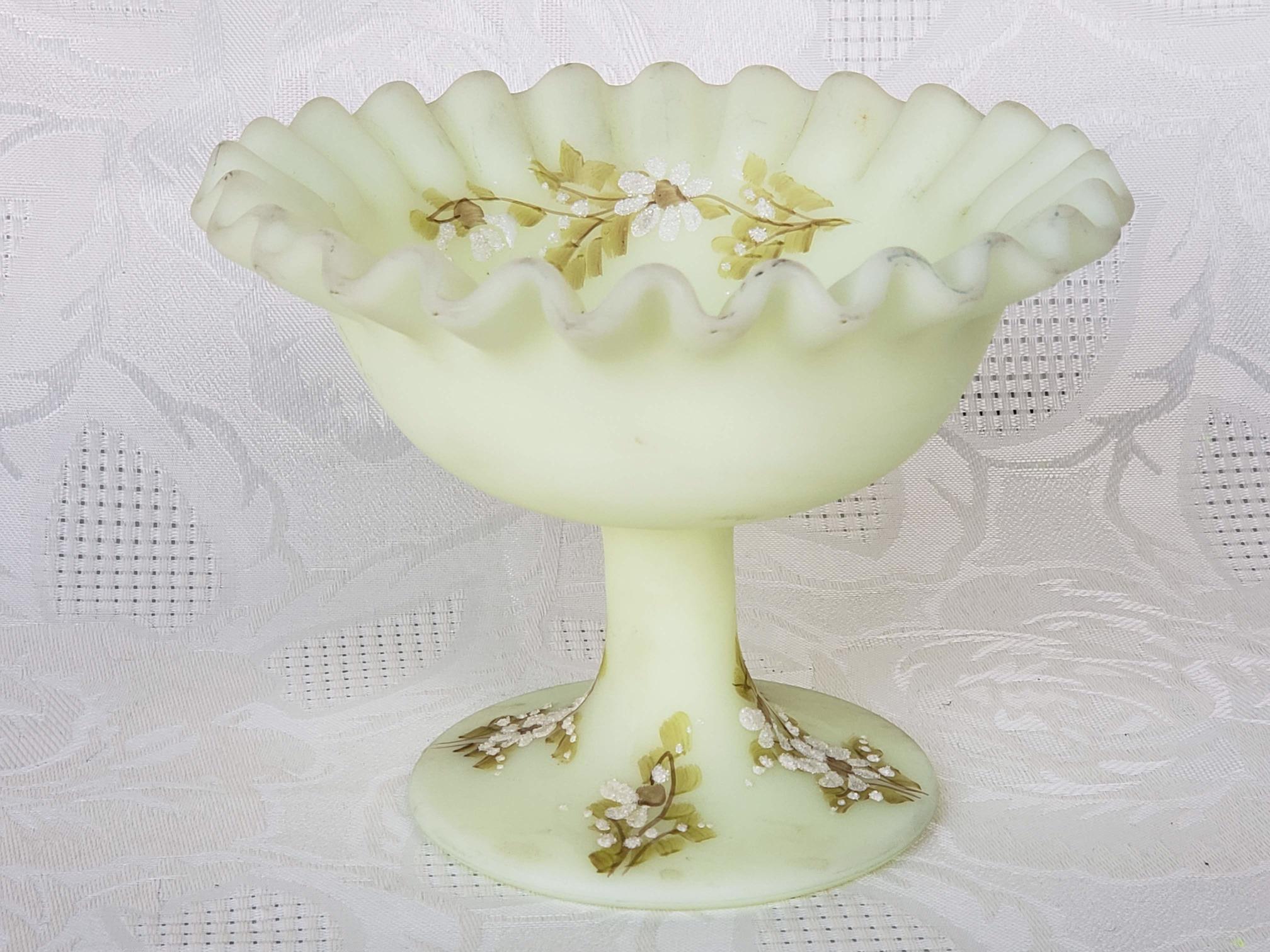Vintage glass art candy dish