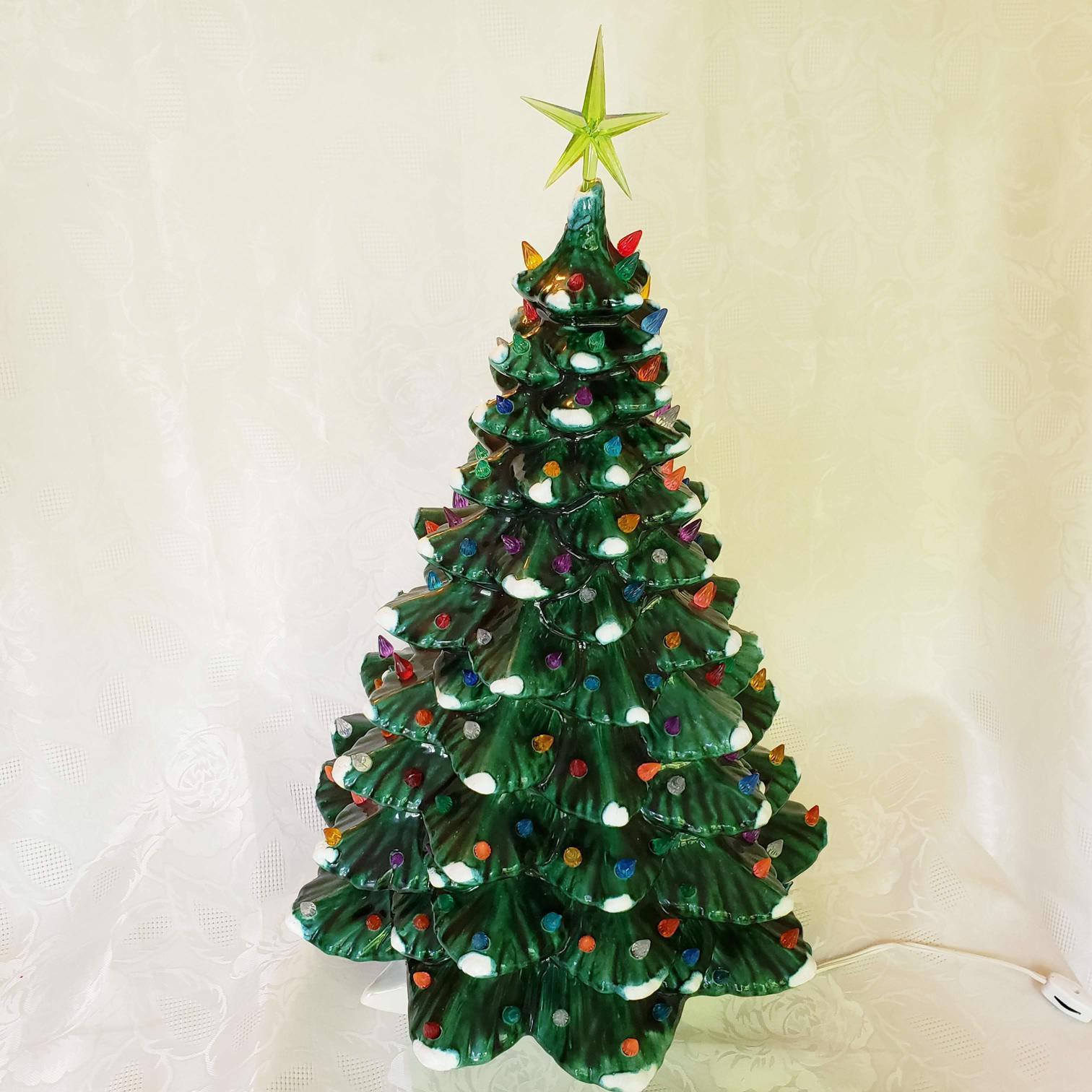 Vintage Large Ceramic Green Flocked Light Up Christmas