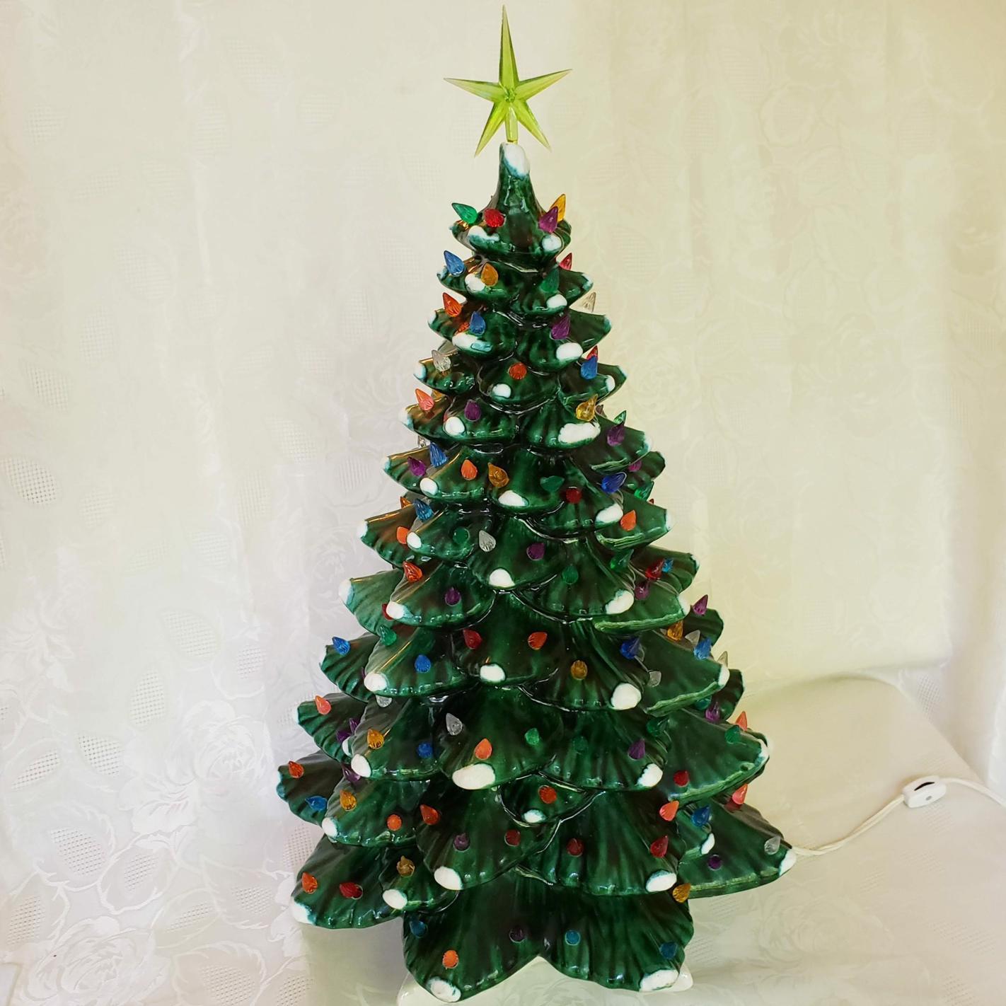 Vintage Large Ceramic Green Flocked Light-up Christmas ...