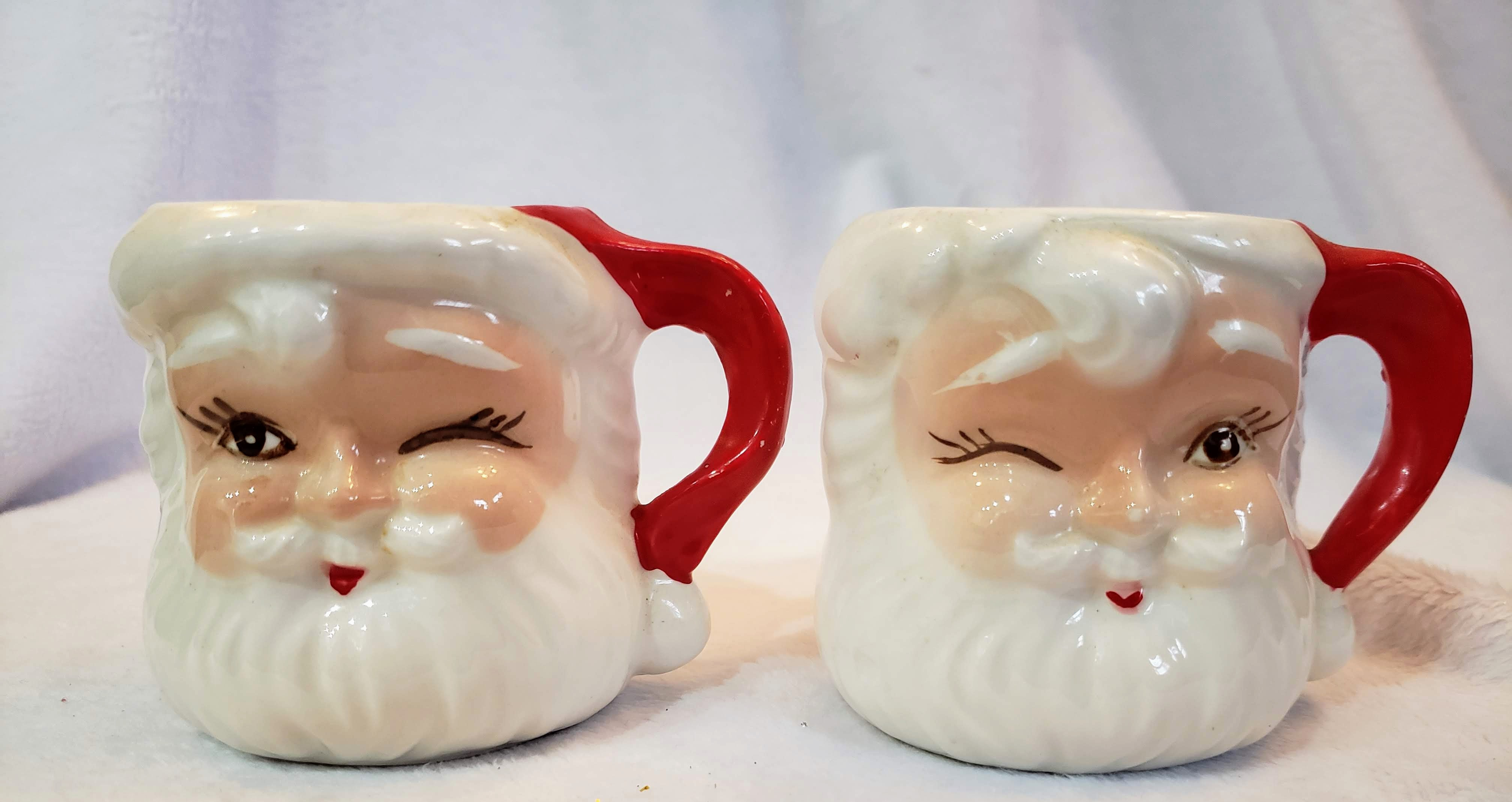 Vintage Mini Japan Winking Santa Mugs Aunt Gladys Attic